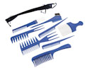 Blue 8 Piece Comb Set with Storage Pouch